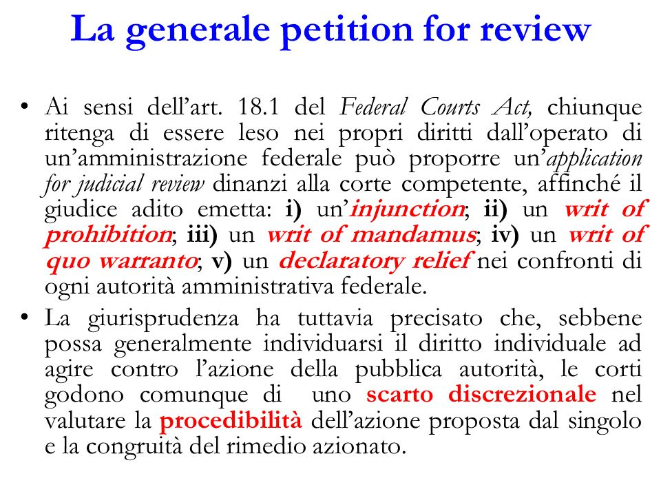 La generale petition for review