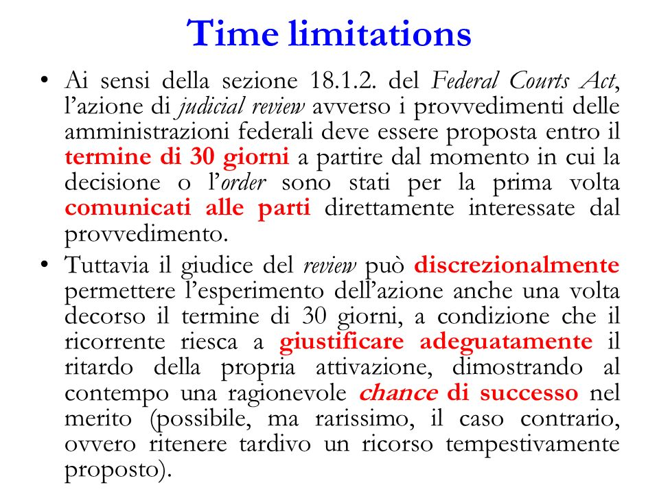 Time limitations