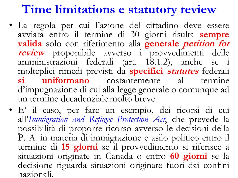 Time limitations e statutory review