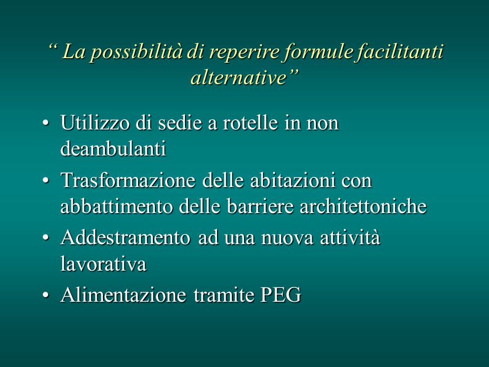 La possibilità di reperire formule facilitanti alternative