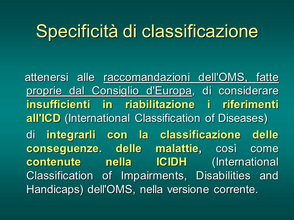 Specificità di classificazione