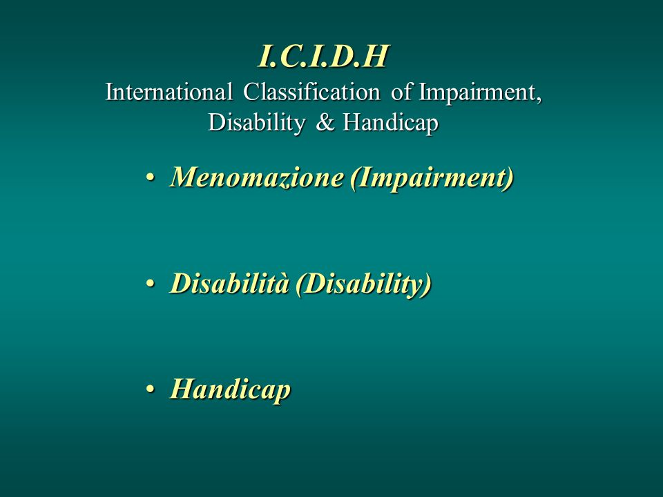 I.C.I.D.H International Classification of Impairment, Disability & Handicap