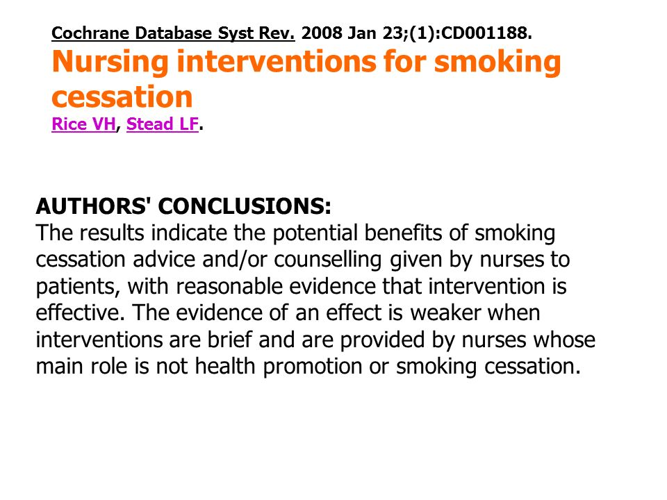 Nursing interventions for smoking cessation