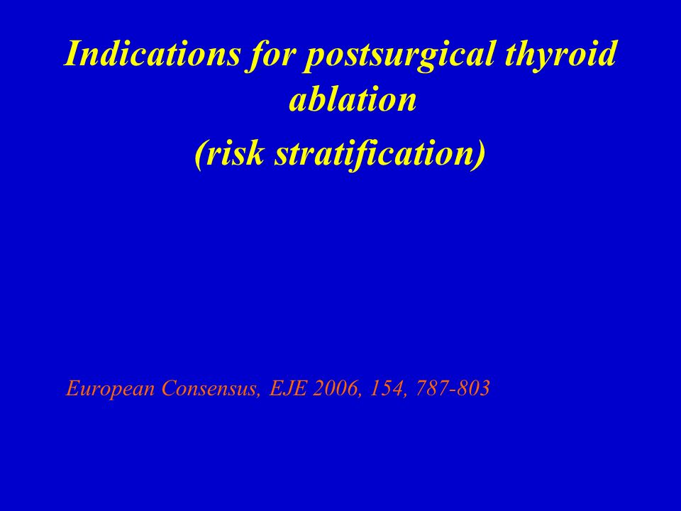 Indications for postsurgical thyroid ablation (risk stratification)