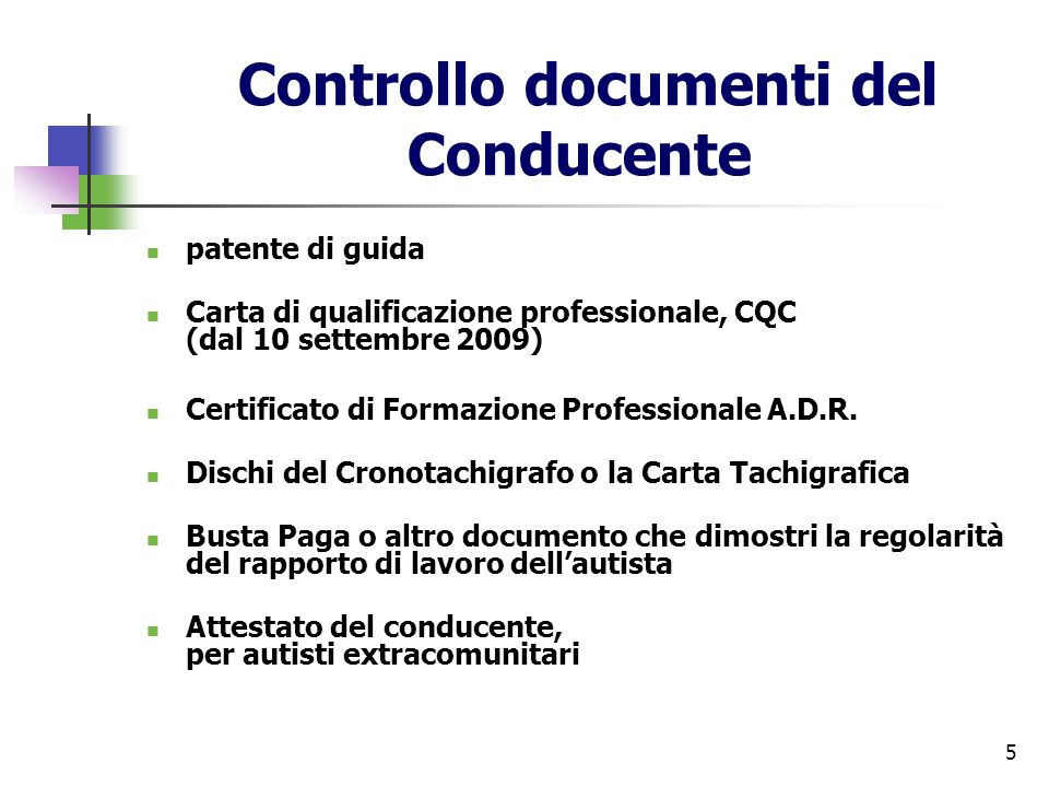 Controllo documenti del Conducente
