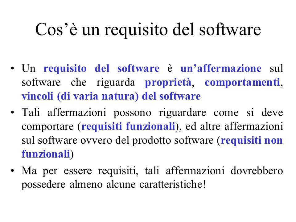 Cos'è un requisito del software