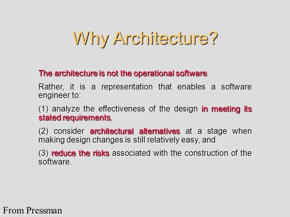 Why Architecture From Pressman