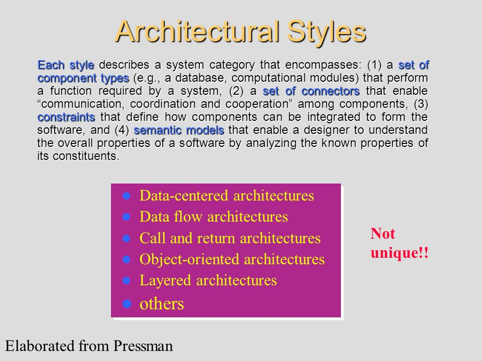 Architectural Styles others Data-centered architectures