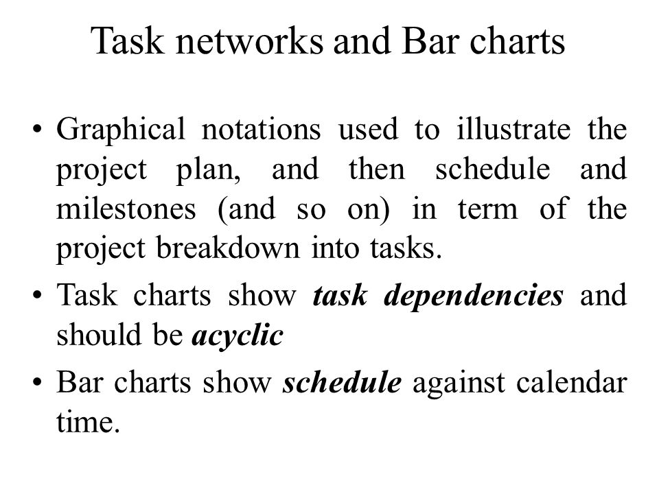 Task networks and Bar charts
