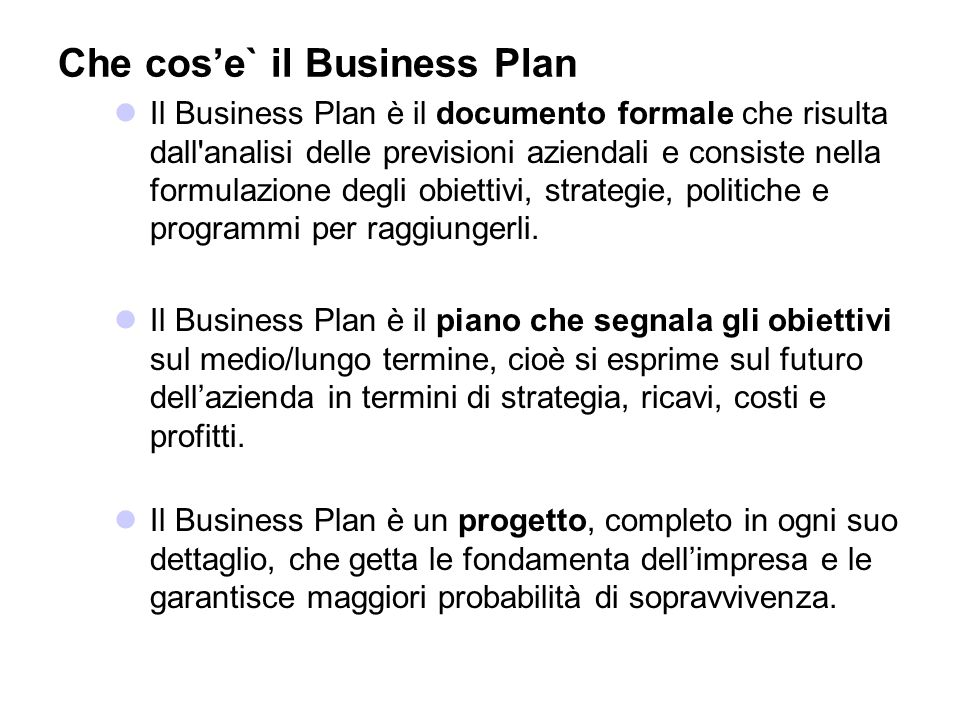 Che cos'e` il Business Plan