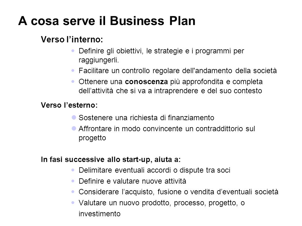 A cosa serve il Business Plan