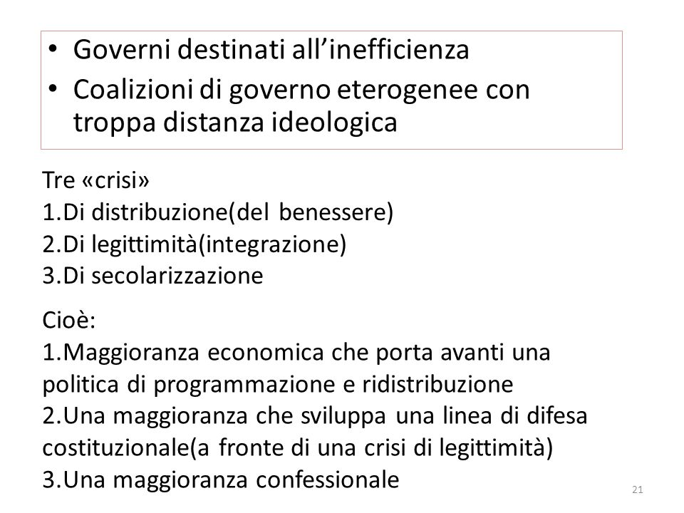 Governi destinati all'inefficienza
