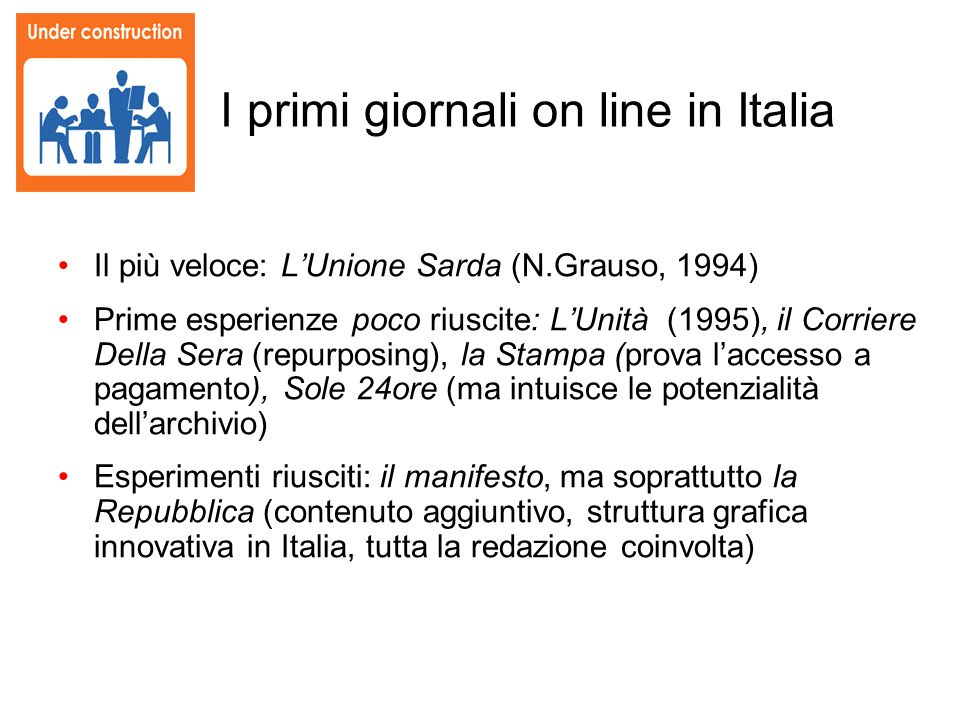 I primi giornali on line in Italia