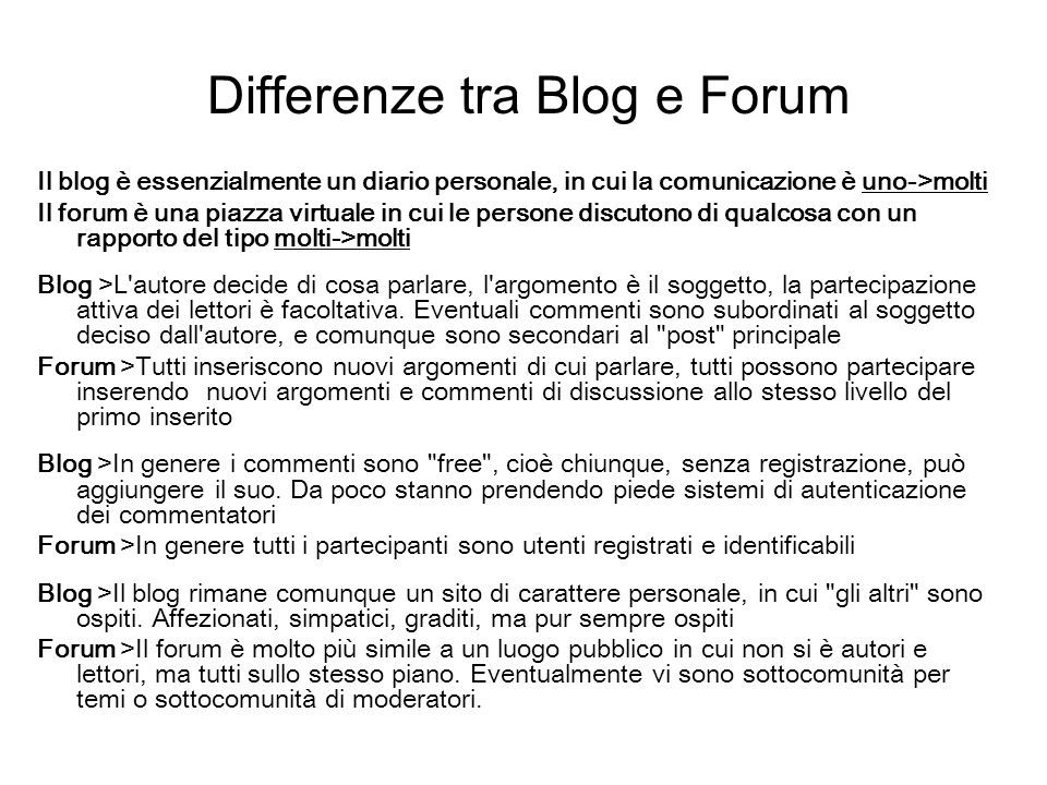 Differenze tra Blog e Forum