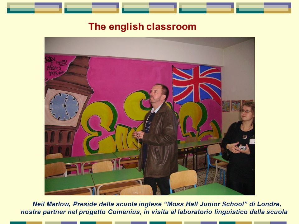 The english classroom Neil Marlow, Preside della scuola inglese Moss Hall Junior School di Londra,