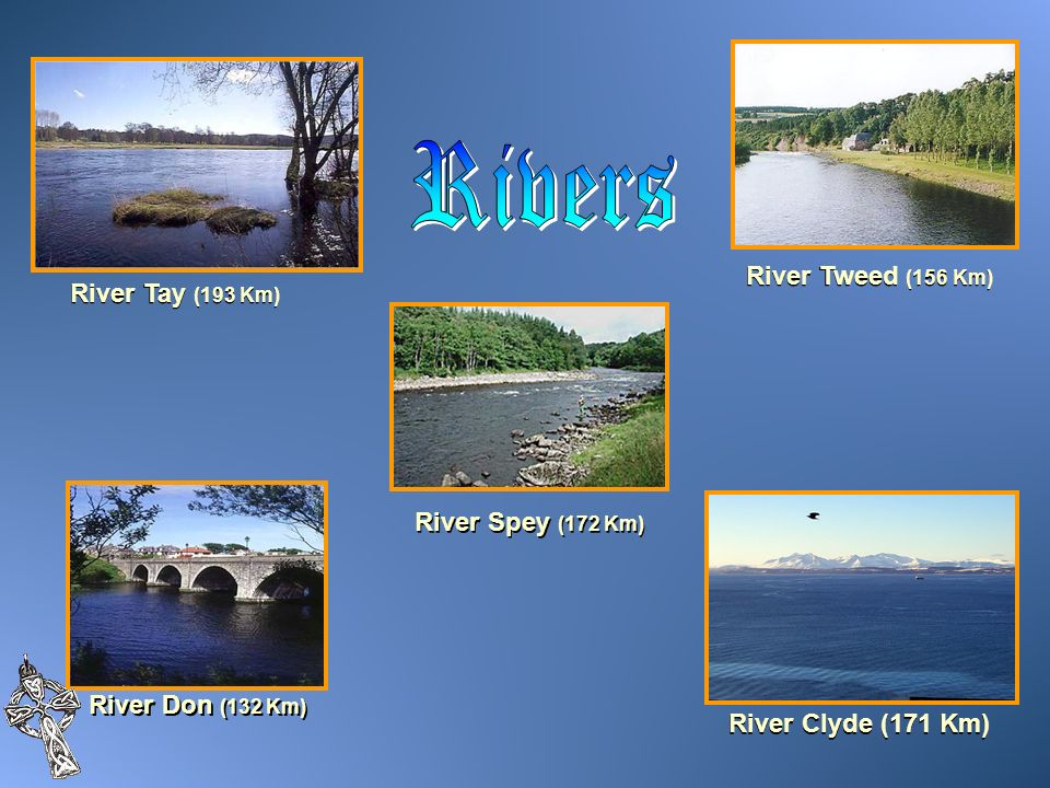 Rivers River Tweed (156 Km) River Tay (193 Km) River Spey (172 Km)