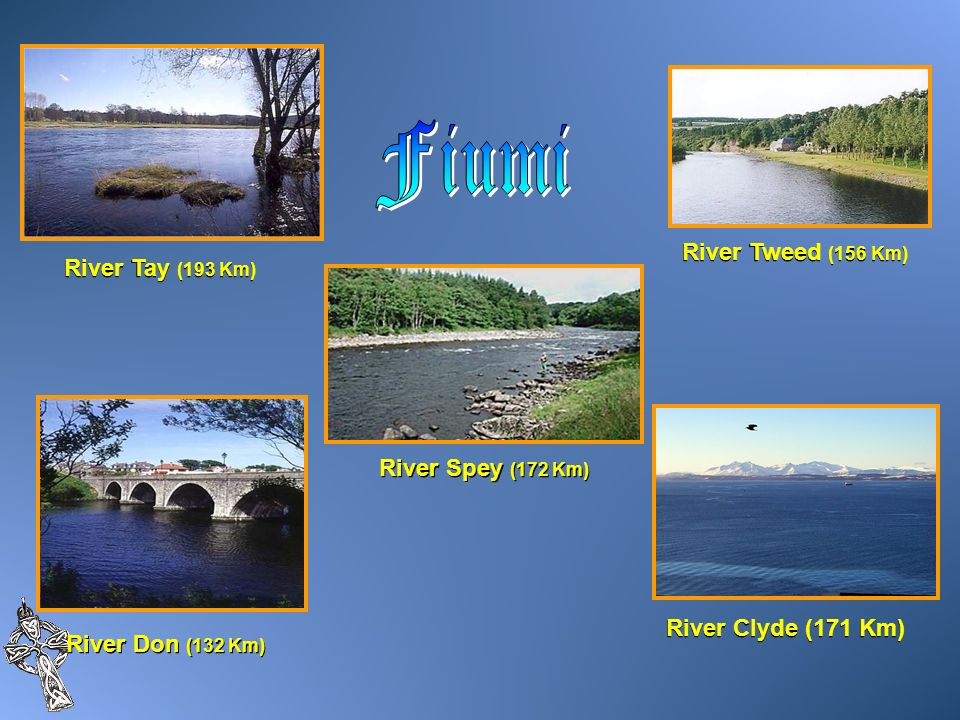 Fiumi River Tweed (156 Km) River Tay (193 Km) River Spey (172 Km)