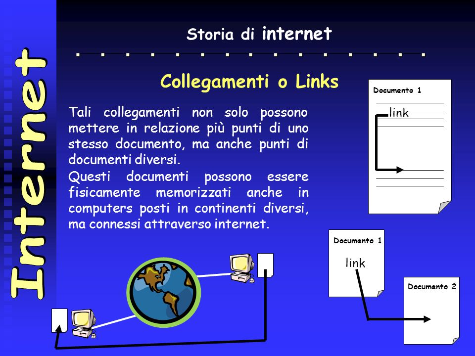 Internet Collegamenti o Links Storia di internet