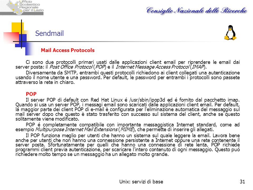 Sendmail Mail Access Protocols