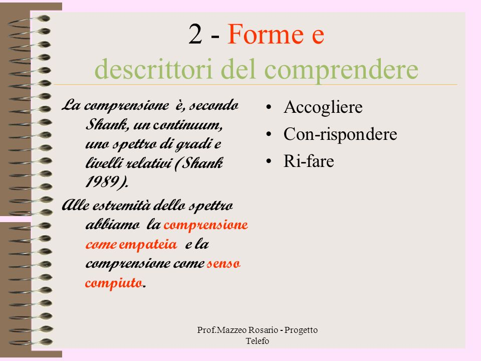 2 - Forme e descrittori del comprendere
