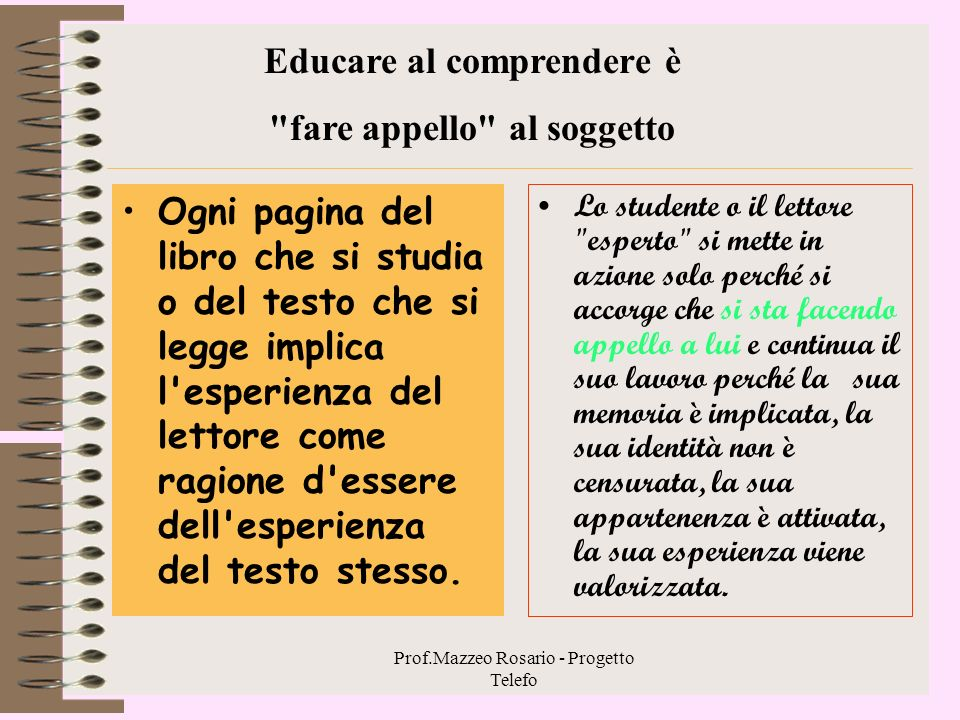 Educare al comprendere è fare appello al soggetto