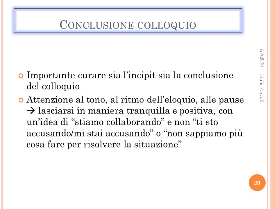 Conclusione colloquio