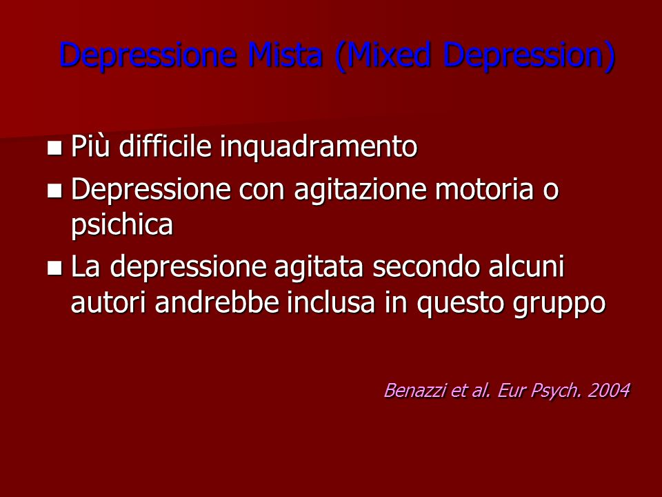 Depressione Mista (Mixed Depression)