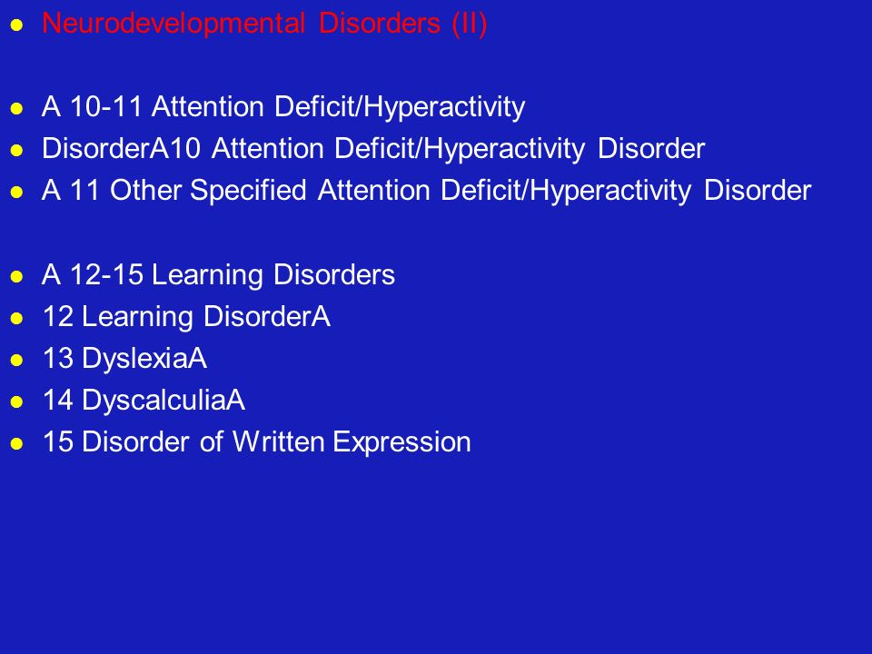 Neurodevelopmental Disorders (II)