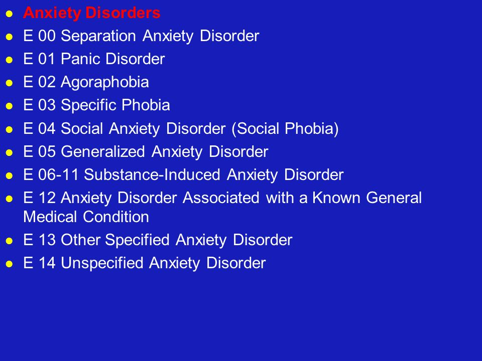 Anxiety Disorders E 00 Separation Anxiety Disorder. E 01 Panic Disorder. E 02 Agoraphobia. E 03 Specific Phobia.