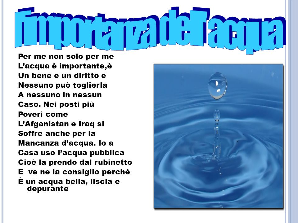 l importanza dell acqua