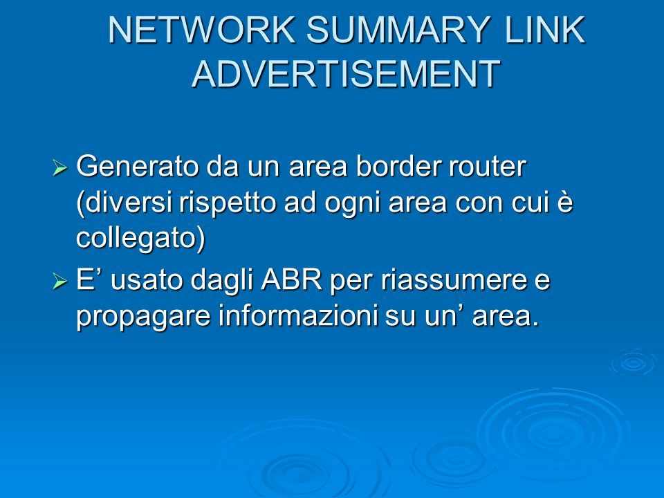 NETWORK SUMMARY LINK ADVERTISEMENT