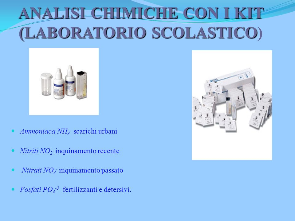 ANALISI CHIMICHE CON I KIT (LABORATORIO SCOLASTICO)