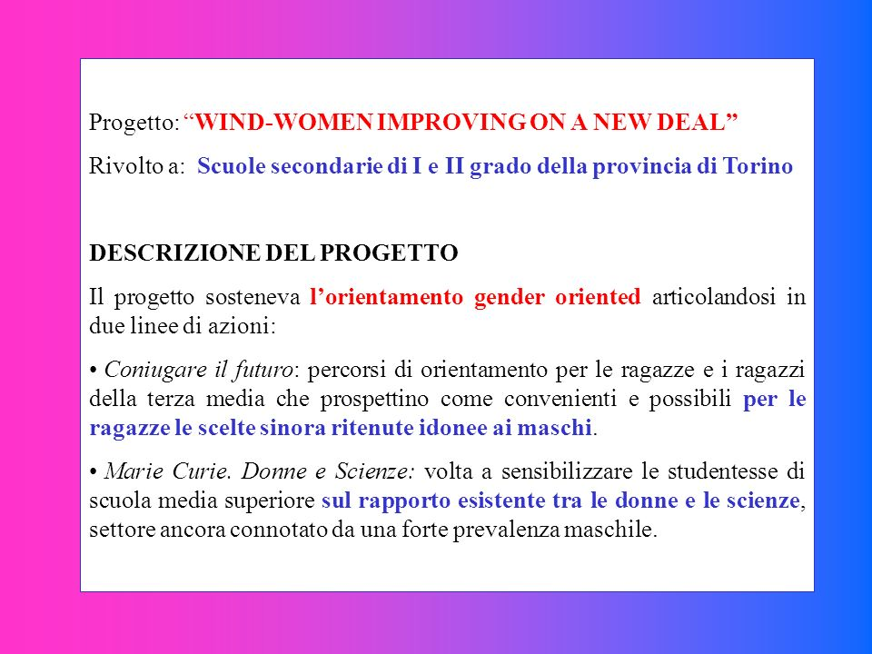 Progetto: WIND-WOMEN IMPROVING ON A NEW DEAL