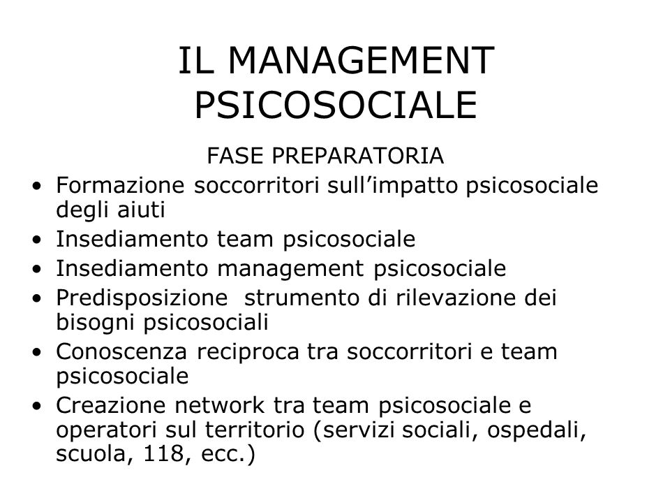 IL MANAGEMENT PSICOSOCIALE