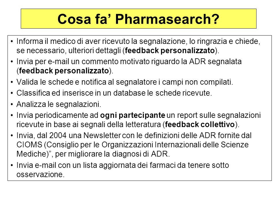 Cosa fa' Pharmasearch