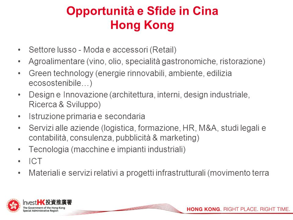 Opportunità e Sfide in Cina Hong Kong