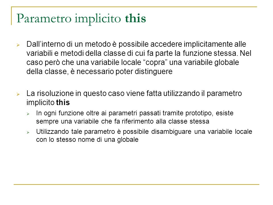 Parametro implicito this