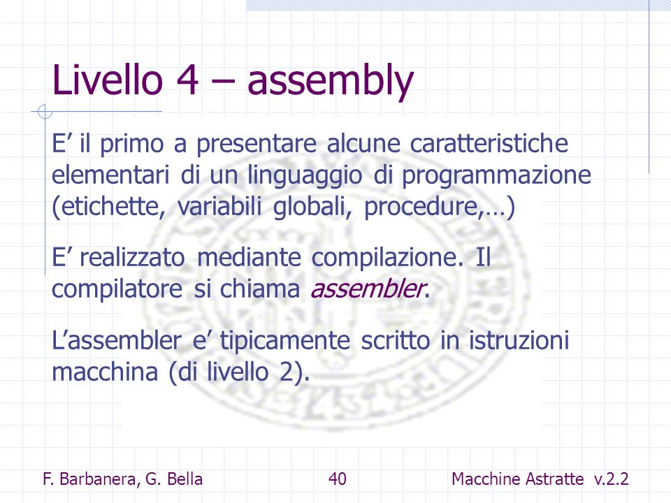 Livello 4 – assembly