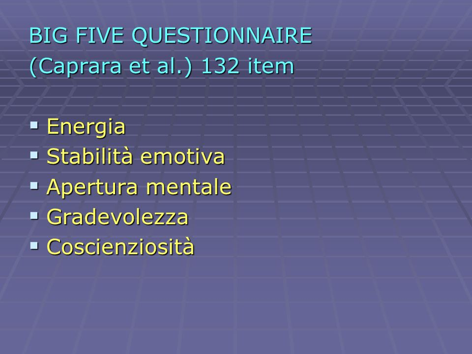BIG FIVE QUESTIONNAIRE