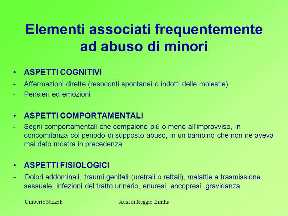 Elementi associati frequentemente ad abuso di minori
