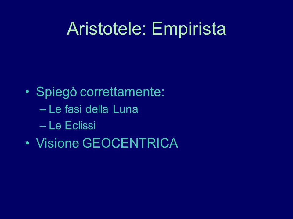 Aristotele: Empirista