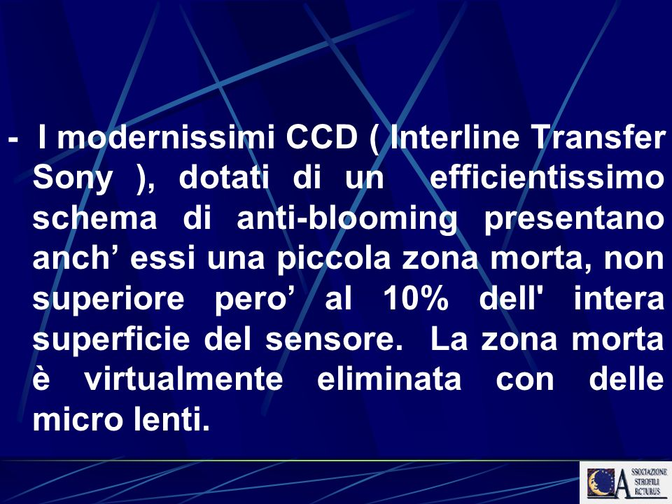 - I modernissimi CCD ( Interline Transfer Sony ), dotati di un efficientissimo schema di anti-blooming presentano anch' essi una piccola zona morta, non superiore pero' al 10% dell intera superficie del sensore.