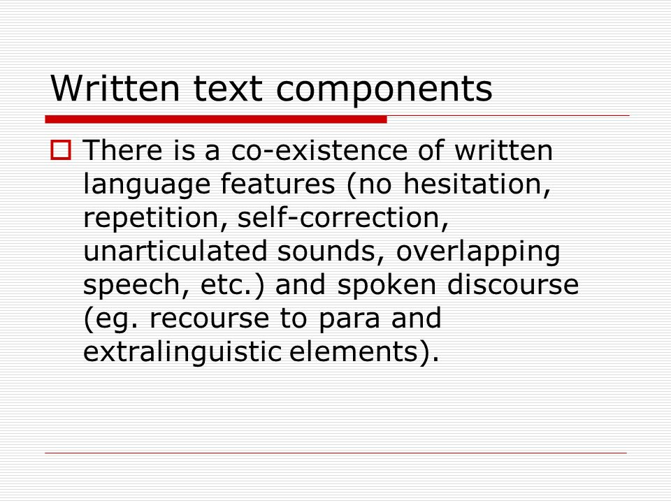 Written text components