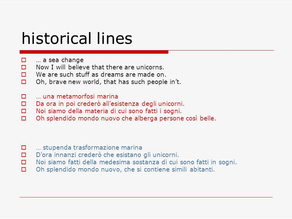 historical lines … a sea change