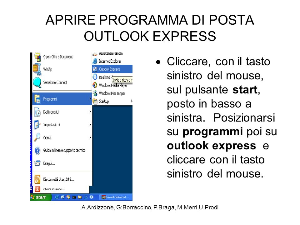 APRIRE PROGRAMMA DI POSTA OUTLOOK EXPRESS