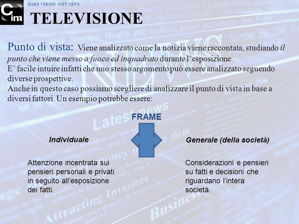 HARD VERSUS SOFT NEWS TELEVISIONE.