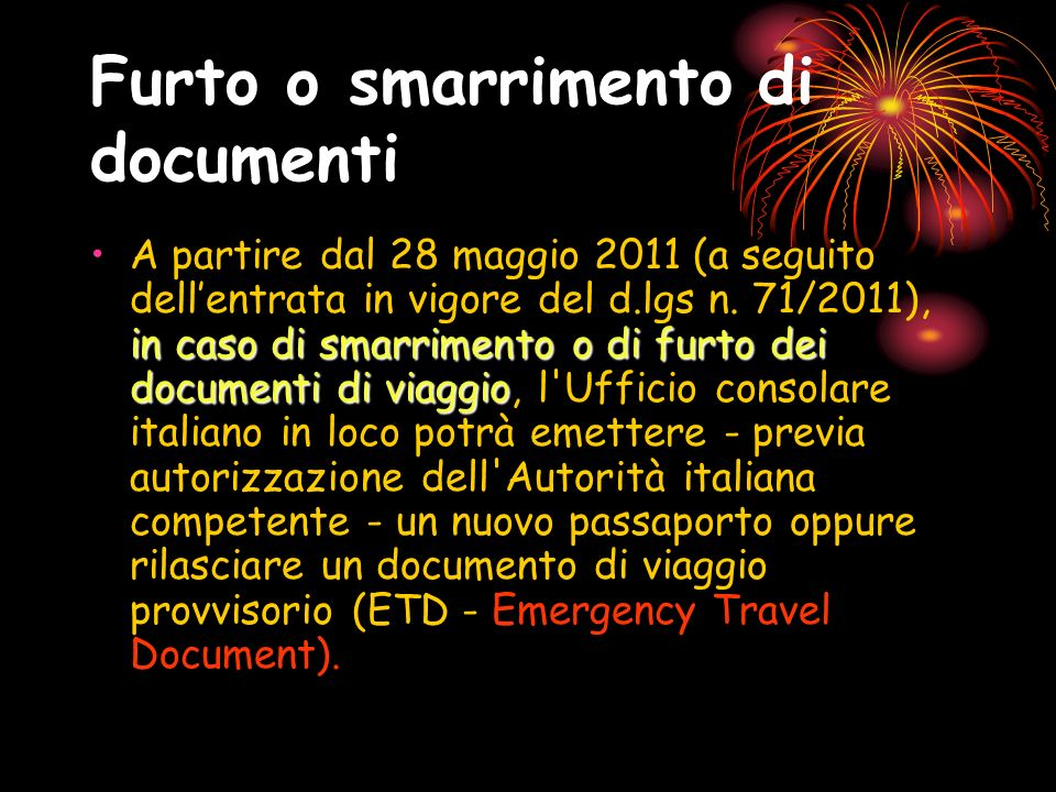 Furto o smarrimento di documenti