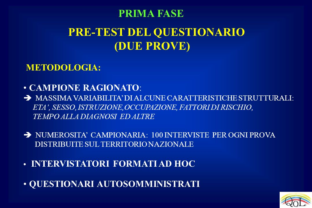PRE-TEST DEL QUESTIONARIO (DUE PROVE)