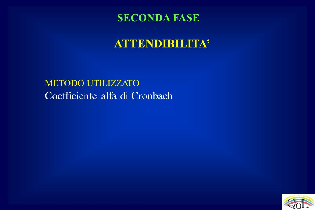 ATTENDIBILITA' SECONDA FASE Coefficiente alfa di Cronbach