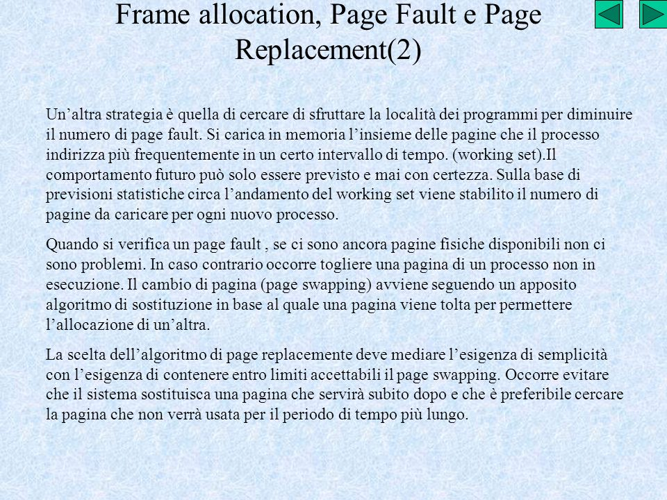Frame allocation, Page Fault e Page Replacement(2)